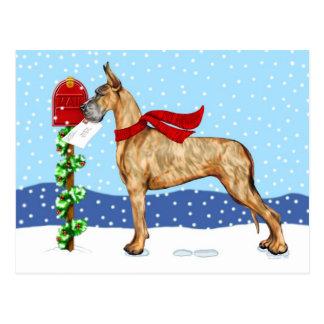 Dogge-Weihnachtspost Brindle Postkarte