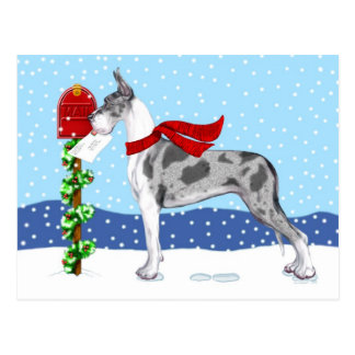 Dogge-Weihnachtspost Merle Postkarte