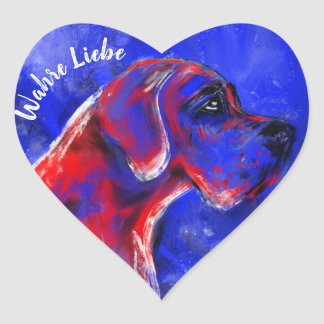 Doggenaufkleber rot blau Herz Herz-Aufkleber