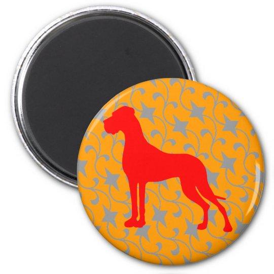 Doggenmagnet rot orange runder magnet 5,1 cm