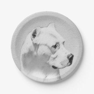 Dogo Argentino Malerei - ursprüngliche Hundekunst Pappteller