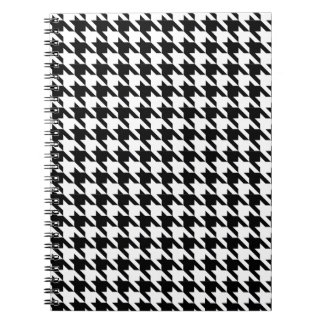 Dogtooth, Hahnentrittmustermuster in Black&White Spiral Notizblock