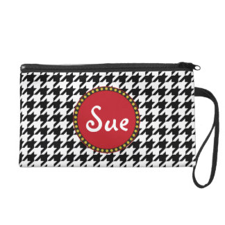 Dogtooth, Hahnentrittmustermuster in Black&White Wristlet Handtasche