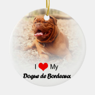 Dogue De Borde French Mastiff-Weihnachtsverzierung Rundes Keramik Ornament