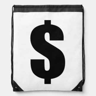 Dollar-Zeichen-Geld-Symbol-Ikone Bling Dollar Turnbeutel