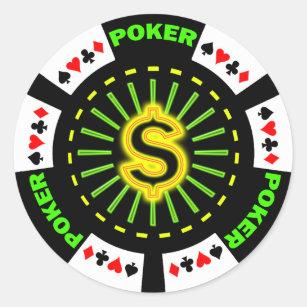 Dollar Zeichen Poker Chip Runder Aufkleber