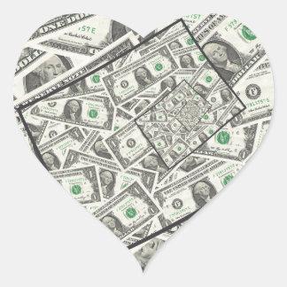 Dollarschein-Entwurf Herz-Aufkleber