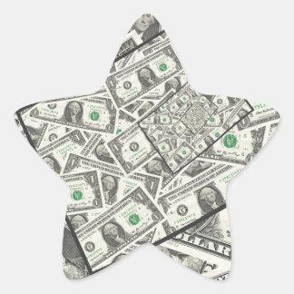 Dollarschein-Entwurf Stern-Aufkleber