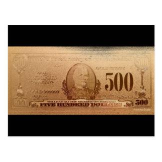 Dollarschein-Front des Gold500 Postkarte