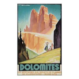 Dolomit-Vintages Reise-Plakat