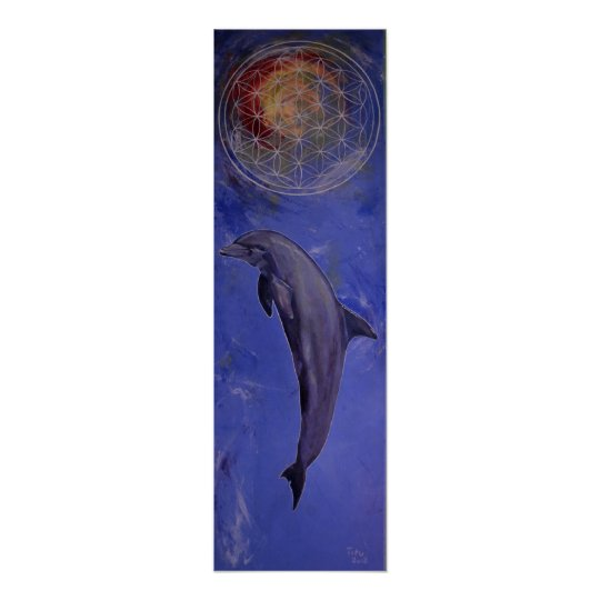 dolphin with flower of life poster