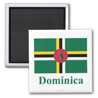 Dominica-Flagge mit Namen Quadratischer Magnet