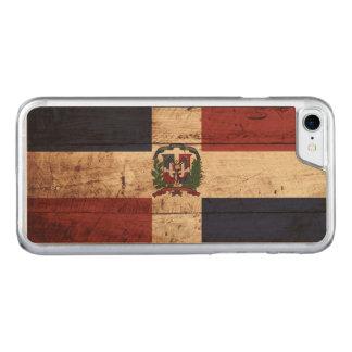 Dominikanische Republik-Flagge auf altem hölzernem Carved iPhone 8/7 Hülle