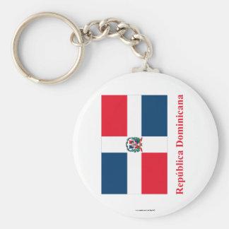 Dominikanische Republik-Flagge mit Namen auf spani Standard Runder Schlüsselanhänger