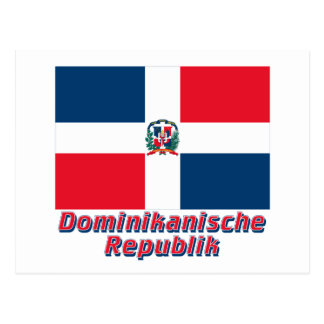 Dominikanische Republik Flagge MIT Namen Postkarten