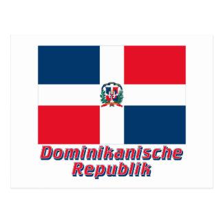 Dominikanische Republik Flagge MIT Namen Postkarte