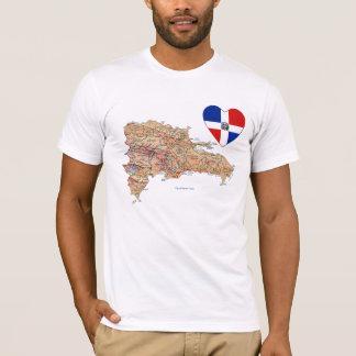 Dominikanische Republik-Flaggen-Herz und Karten-T T-Shirt