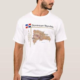 Dominikanische Republik-Karte + Flagge + Titel-T - T-Shirt