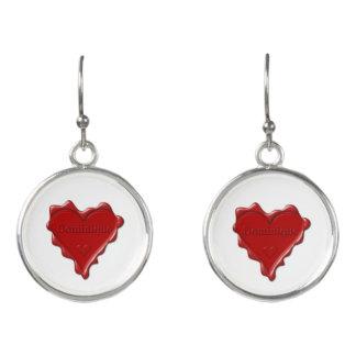 Dominique. Rotes Herzwachs-Siegel mit Ohrringe