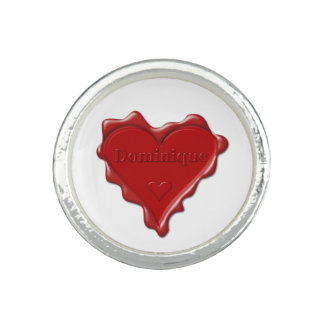 Dominique. Rotes Herzwachs-Siegel mit Ring