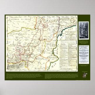 Don Quichote Weg-Karte - Cervantes Poster
