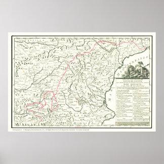 Don Quichote Weg Karte-Mapa de la Ruta del Quijote Poster