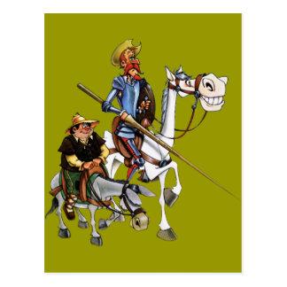 DON QUIJOTE, SANCHO, ROCINANTE y RUCIO - Cervantes Postkarte