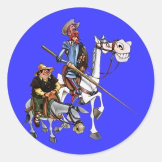 DON QUIJOTE, SANCHO, ROCINANTE y RUCIO - Cervantes Runder Aufkleber