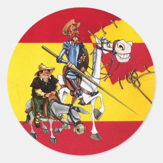 DON QUIJOTE&SANCHO - Windmühle Spanisch-Flagge Runder Aufkleber