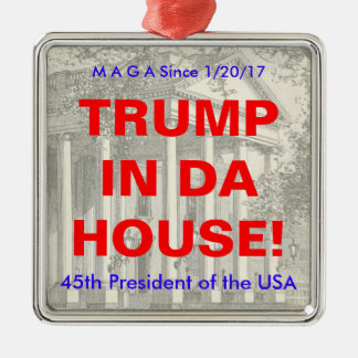 Donald- Trumpeinweihungs-Gedenkverzierung Silbernes Ornament