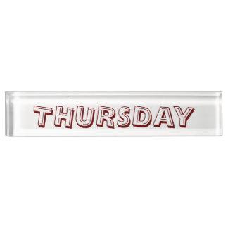 Donnerstags-Schreibtisch-Nummernschild durch Janz