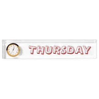 Donnerstags-Schreibtisch-Nummernschild mit Uhr