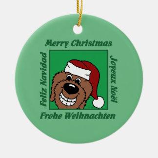 Doodle braun Weihnachten Keramik Ornament