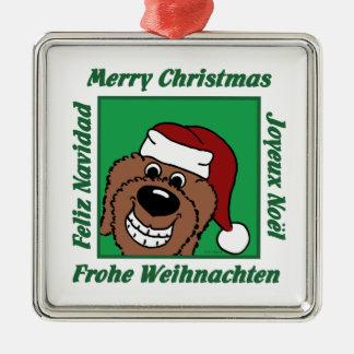 Doodle braun Weihnachten Silbernes Ornament