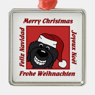 Doodle schwarz Weihnachten Silbernes Ornament