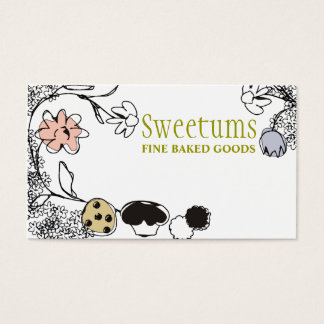 doodle sketch bakery sweets flowers business cards visitenkarte