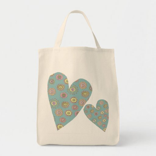 doodleflower Herz-Lebensmittelgeschäft-Tasche