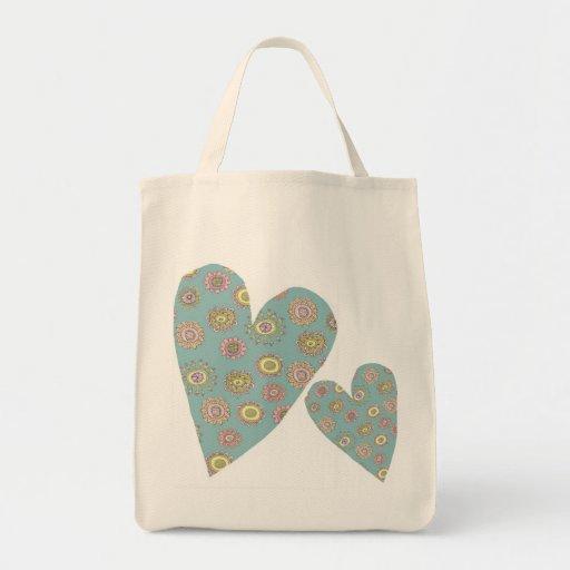 doodleflower Herz-Lebensmittelgeschäft-Tasche Einkaufstasche