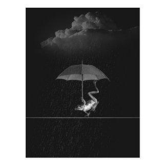 Doof Schwarzweiss-Frosch mit Regenschirm im Regen Postkarte