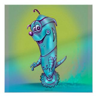 DOOPPEY ROBOTER-ALIEN-CARTOON perfektes Plakat Poster