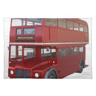 Doppeldecker-roter Bus im vorderen Profil Stofftischset