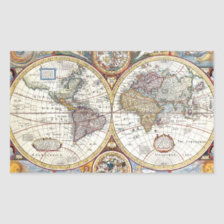Doppelhemisphäre-Weltkarte des 17 Jahrhunderts Sticker