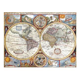 Doppelhemisphäre-Weltkarte des 17. Jahrhunderts Postkarte