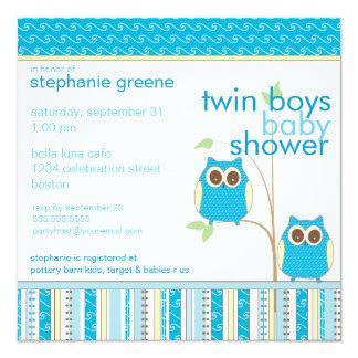 Doppeljungen-Baby-Eulen-Blau-Babyparty Quadratische 13,3 Cm Einladungskarte