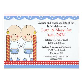 Doppeljungen-erster Geburtstag 12,7 X 17,8 Cm Einladungskarte