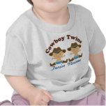 Doppeljungen-personalisierter Cowboy-Baby-T - Shir