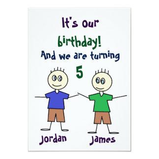 Doppeljungen-Strichmännchen-Geburtstag-Einladung 12,7 X 17,8 Cm Einladungskarte