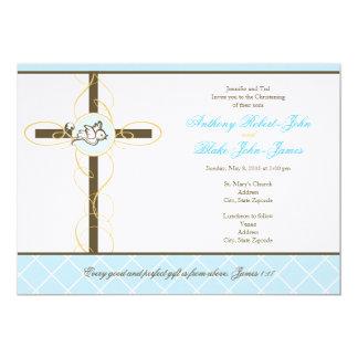 Doppeljungen-Taufe/Taufe-Einladung 12,7 X 17,8 Cm Einladungskarte