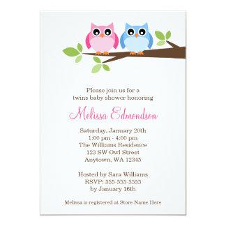 Doppelmädchen-Jungen-Eulen-Baumast-Babyparty 12,7 X 17,8 Cm Einladungskarte