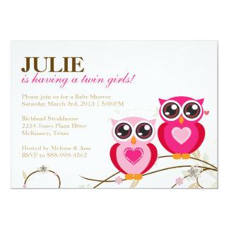 Doppelmädchen-rosa Eulen-Babyparty-Einladung 12,7 X 17,8 Cm Einladungskarte